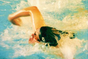 Karel swimming with the Special Olympics